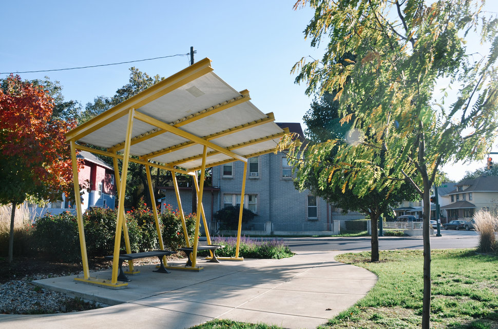 A shade structure built by People for Urban Progress, along with design and community partners, in the Highland Vicinity neighborhood of Indianapolis.