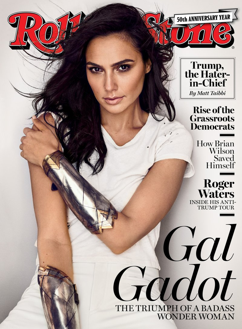 Gal Gadot wearing MANAM's Shale Pant in beige, on the cover of Rolling Stone, this September.