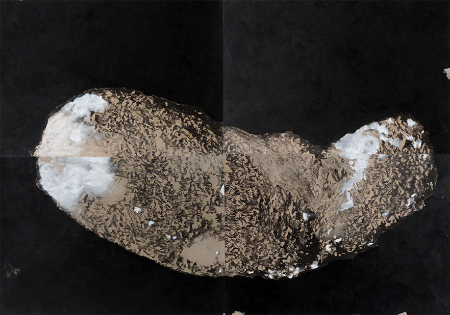 Jorge da Cruz – meteor or the great arrival – Coal on craft paper – total 100x140cm Bethanien Berlin- 2016 (colect.nr00047)