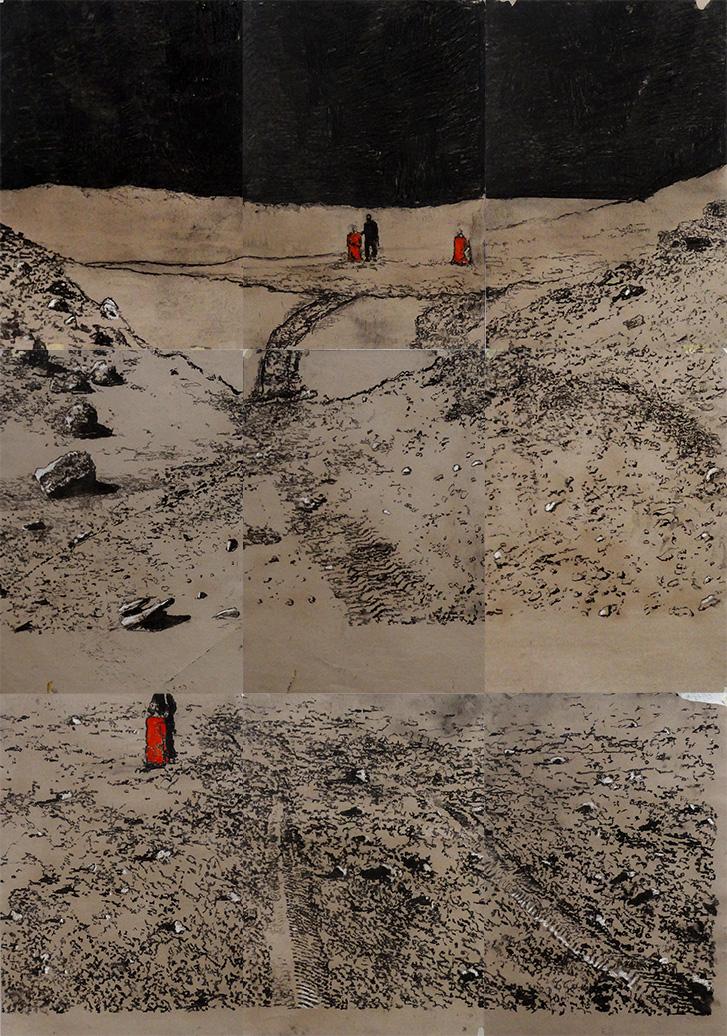Jorge da Cruz – Chock, the end of the world – Coal on craft paper – total 186x132cm Bethanien Berlin- 2016