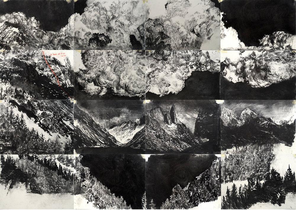Jorge daCruz- God - charcoal on paper | 240x160cm l © k37 studio, bethanien Berlin December 2018