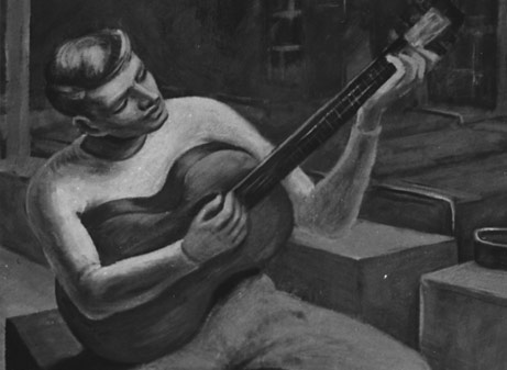 Willard Cummings, Barracks Concert (detail), ca. 1942.