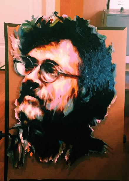 Terence McKenna , oil on glass
