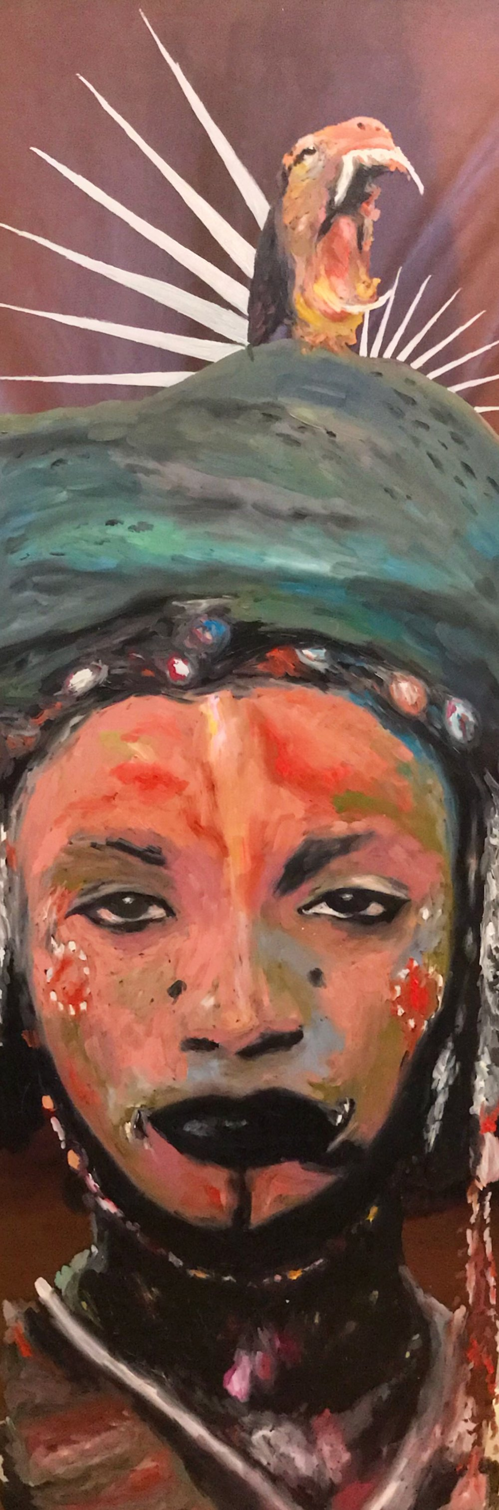 Asha Ade (Lively, royal woman) Oil paint on glass. November 2017.