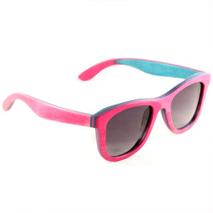 5727362589 Pink Multilayer Gray Polarized Lens Wooden Sunglasses
