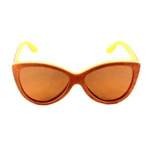 69f4959899 Round Frame Amber Polarized Lens Wooden Sunglasses