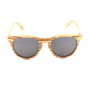 cae5421f1a Tiger Stripe Round Gray Polarized Lens Wooden Sunglasses