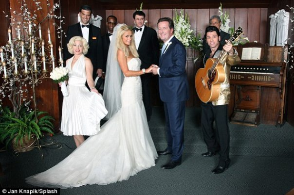 From left to right: Marilyn Monroe, Frank Sinatra (me), Sammy Davis (Doug Starks), Paris Hilton, Dean Martin (Luciano Correia), Piers Morgan, Elvis, and the phony priest who phony married them for Piers' British TV show, 8/09.