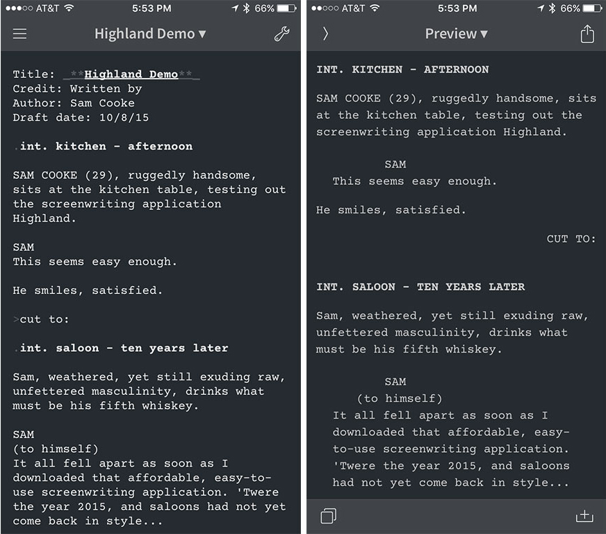 (Left) Writing in Editorial on my iPhone using the Fountain syntax. (Right) A quick swipe switches you to the Preview pane, which looks more like a standard screenplay format. I find this easier to read, and it also helps me ferret out any errors in my Fountain syntax.