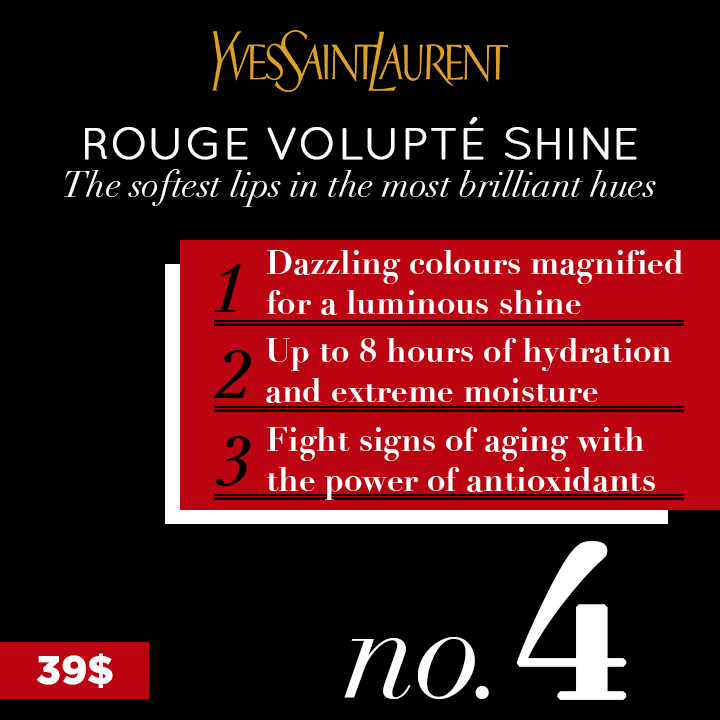 Proposed design + copy for a POS display in Holt Renfrew promoting the 5 best-selling YSL Beauté products