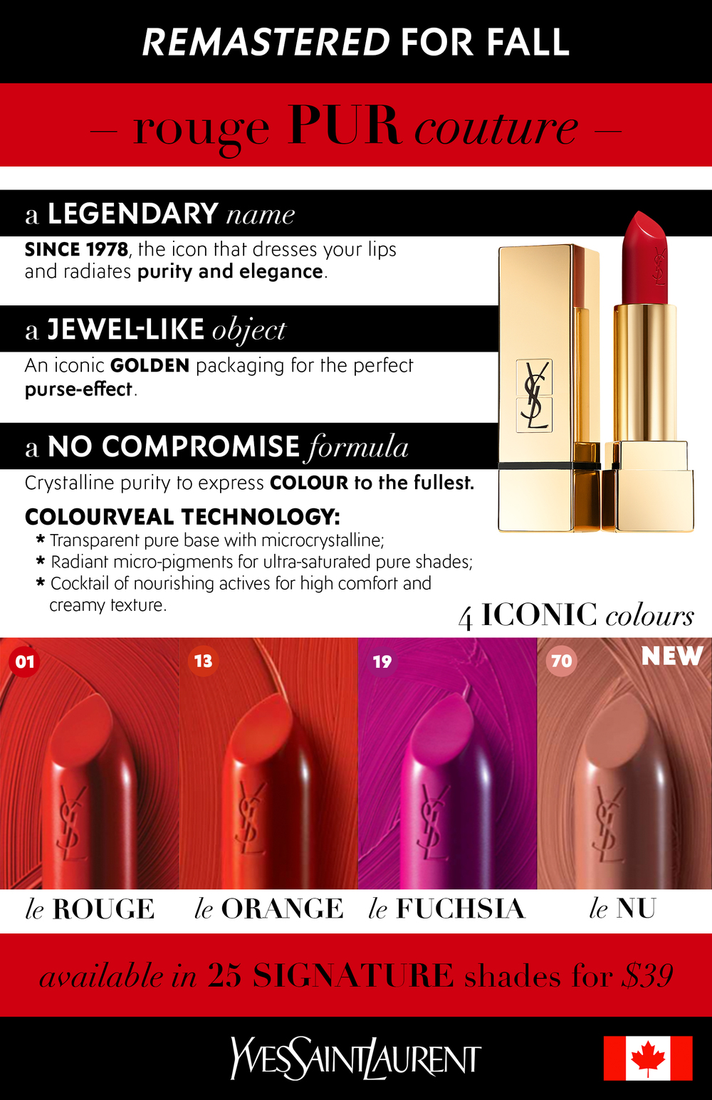 Design + copy of an informational handout for the August 2015 relaunch of the YSL Beauté Rouge Pur Couture lipstick