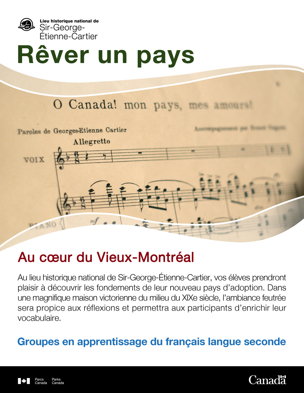 Promotional document sent to Montreal teachers about the educational activities held at the Sir-George-Étienne-Cartier National Historic Site