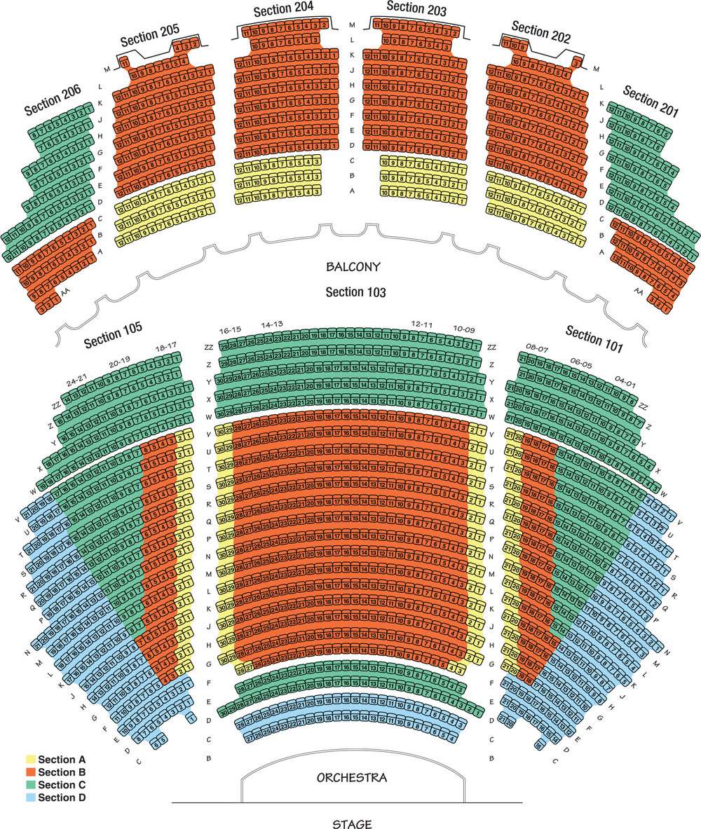 Warner Theatre Seat Map