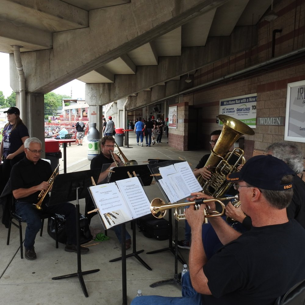 Live Performances - The Erie Philharmonic Brass Quintet played throughout the Erie SeaWolves game prior to the golf ball drop.