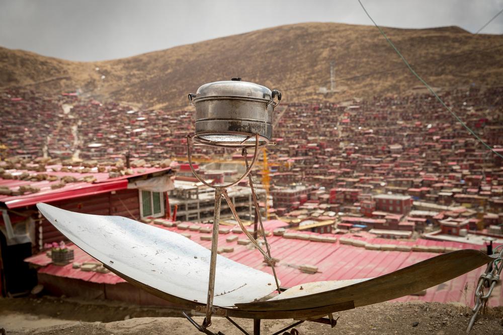 Solar Oven, Serthar Tibetan Buddhist Institute,  Tibetan Autonomous Region, China