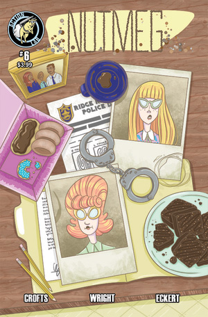 "NUTMEG #6    November 2015    ""Patty Cakes""    As Poppy and Cassia's criminally delicious brownies spread among Vista Vale schools, they catch the attention of teen detective Ginger and teen journalist Anise. Meanwhile, Poppy's appetite for those same brownies and their mind-bending effects only increases.    Art: Jackie Crofts    Colors/Lettering: Josh Eckert    Script: James F. Wright"