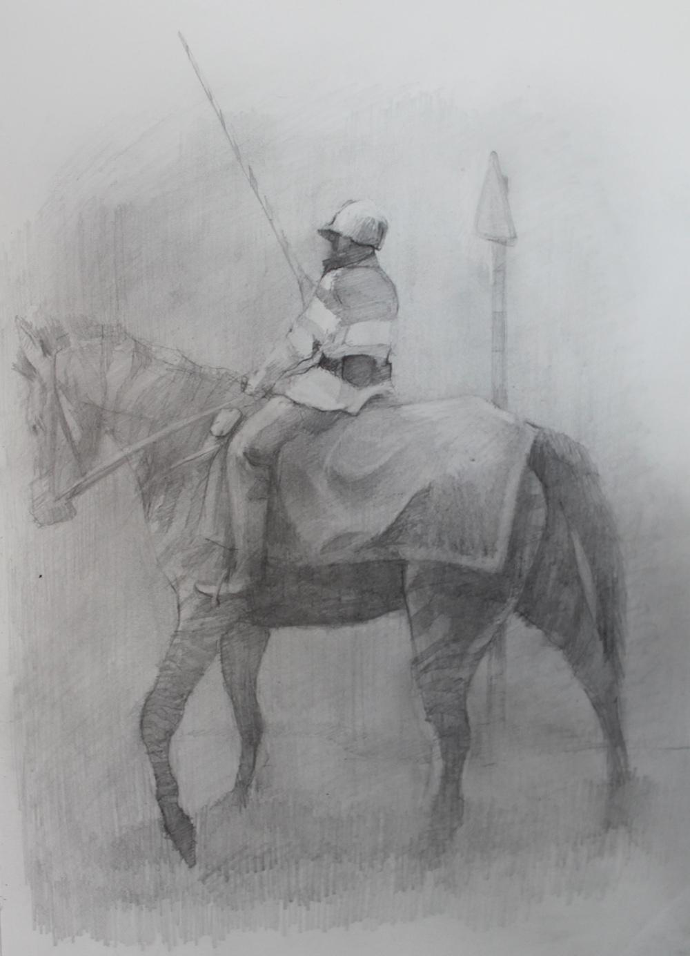 Rider, Pencil on paper, 29x21cm, 2010