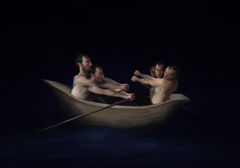 Oarsmen III, Digital painting, 2011
