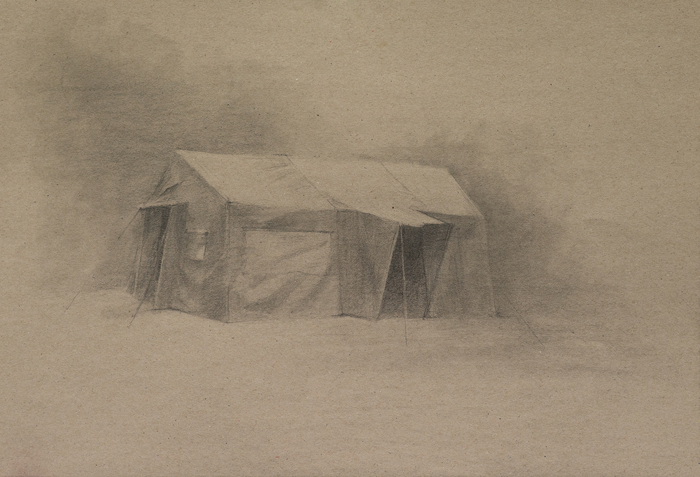 Zelt A, Pencil on tinted Paper, 29x42cm, 2014