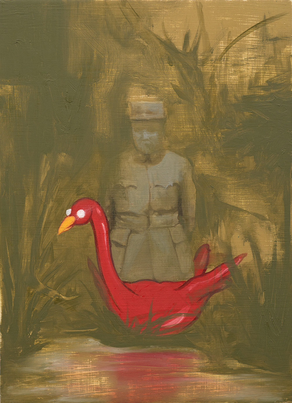 Officer with Duck, Oil on Wood, 29x21cm, 2014