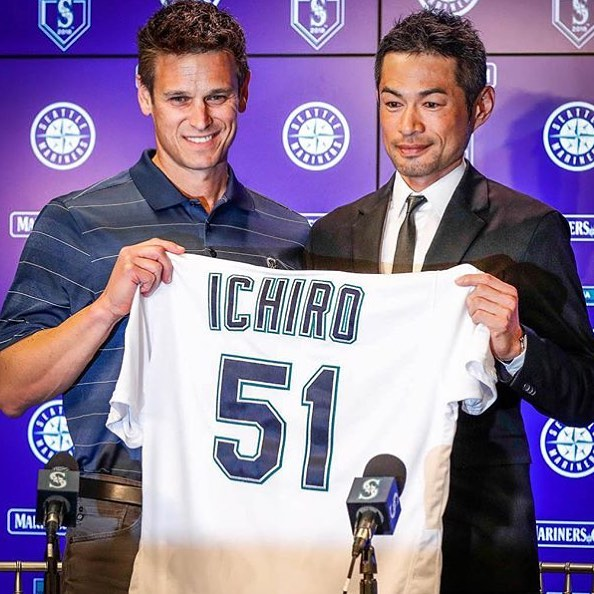 My childhood hero is returning (before all those great musicians came about for me). Last time he joined us, we made the playoffs and won the most games ever in a season...just sayin........GoMs!!! - - - #mariners #seattle #ichiro #playoffs2018 #notmusic #sweet116 #partylikeits2001