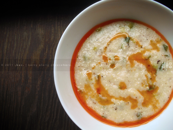 White Cheddar and Blue Cheese Grits with Chili Oil