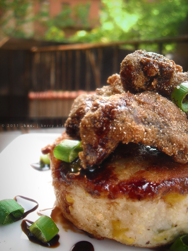 Country-Fried Gizzards over Corn Grit Cake with Balsamic Molasses