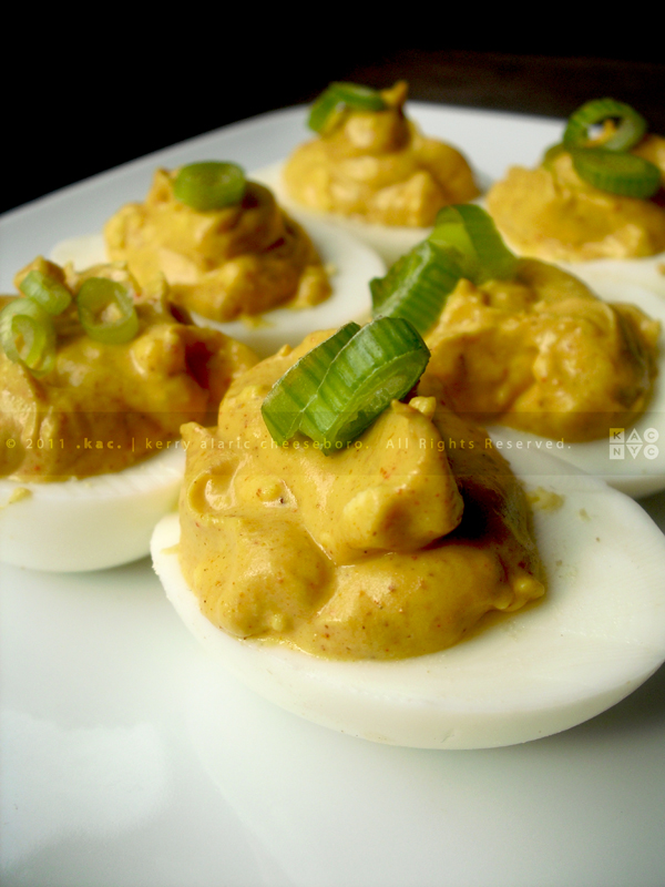 Deviled Eggs with Red Wine Vinegar, Chili Powder and Scallions