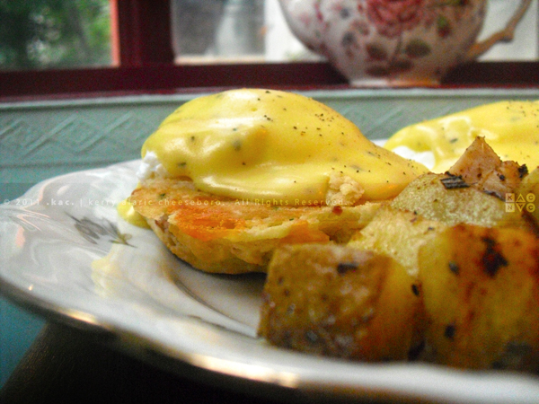 Scones Benedict with Rosemary Hollandaise, Alice's Tea Cup