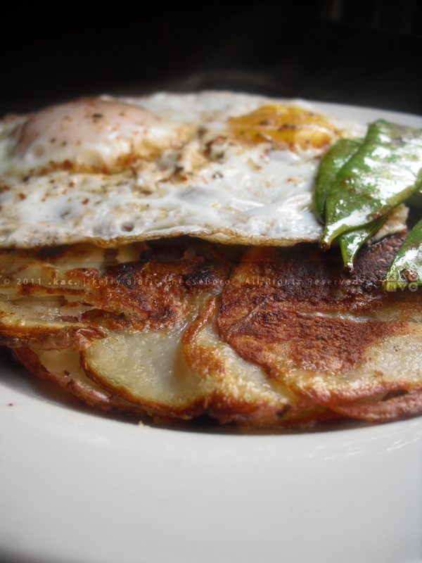 Fried Eggs and Layered Potato Cake
