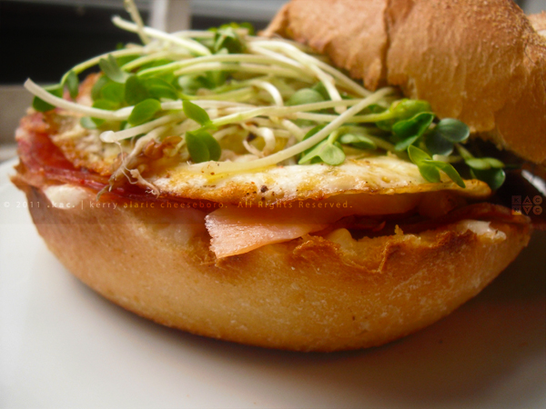 Fried Egg, Smoked Salmon, Sopprasata Sandwich
