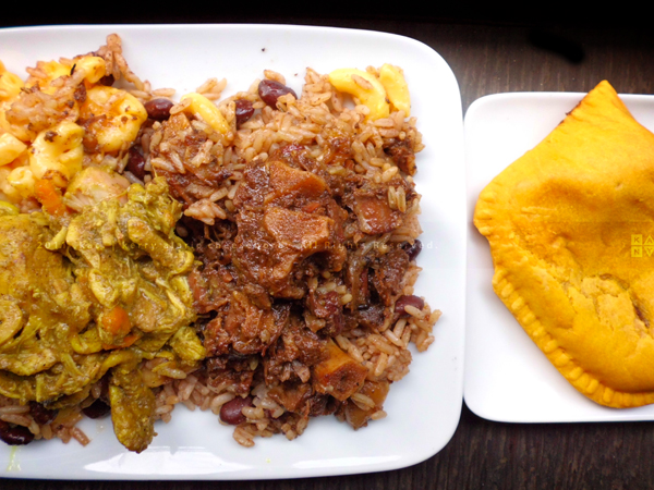 Curry Chicken, Oxtails, Rice & Beans, Mac & Cheese