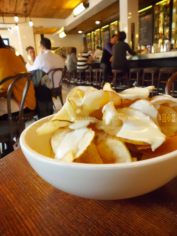 Hot Potato Chips with Blue Cheese Fondue