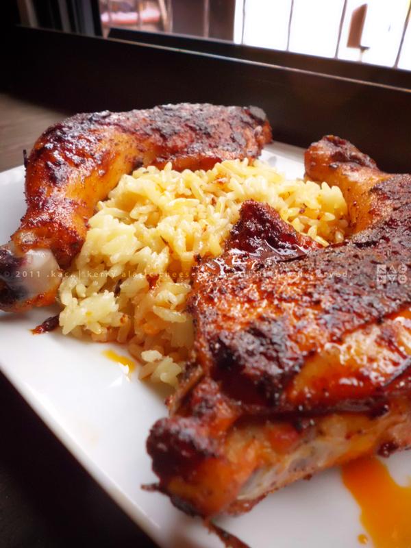Saffron Paprika Chicken over Garlic Butter Rice