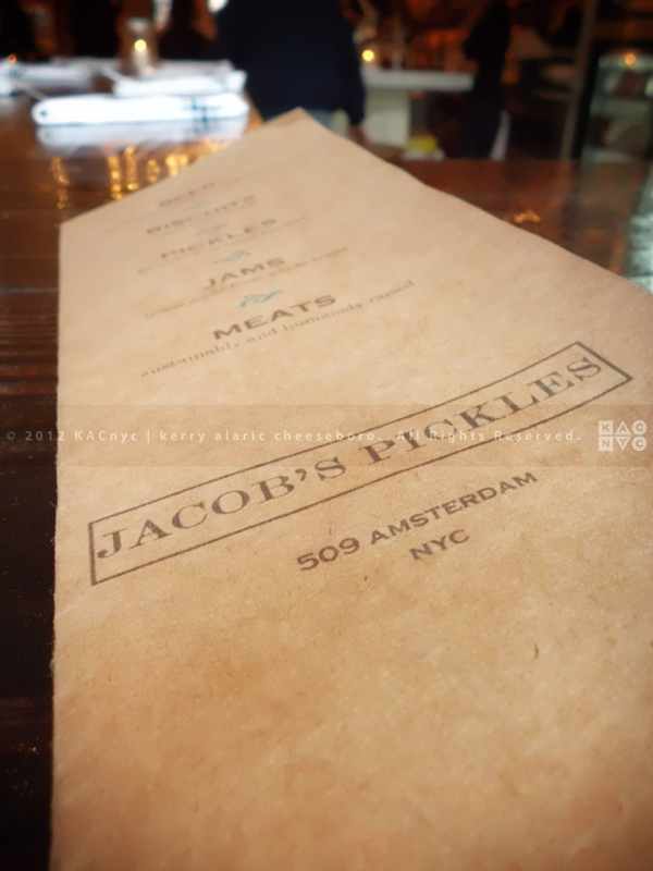Jacob's Pickles Menu