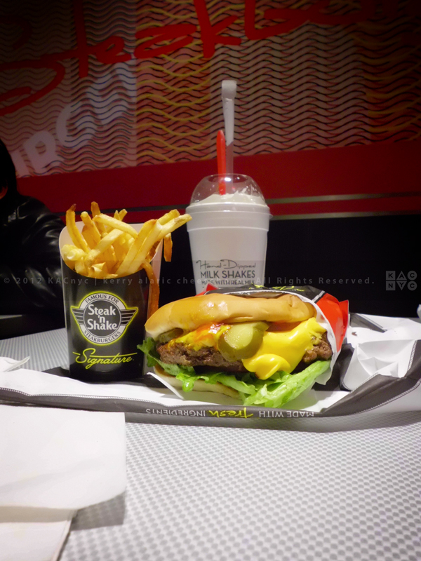 Steak 'n' Shake Signature Burger with Fries and Banana Shake