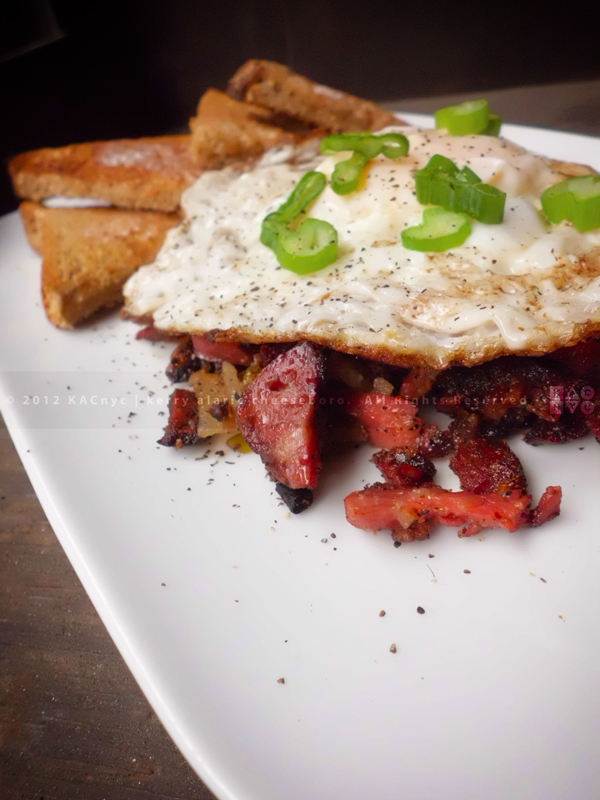 Corned Beef Hash with Egg and Toast