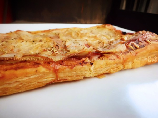 Puff Pastry Pizza with Calabrese Ham and Sliced Potatoes