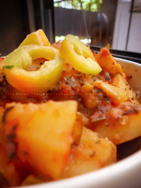 Roasted Tomato-Stewed Potatoes with Hungarian Hot Peppers