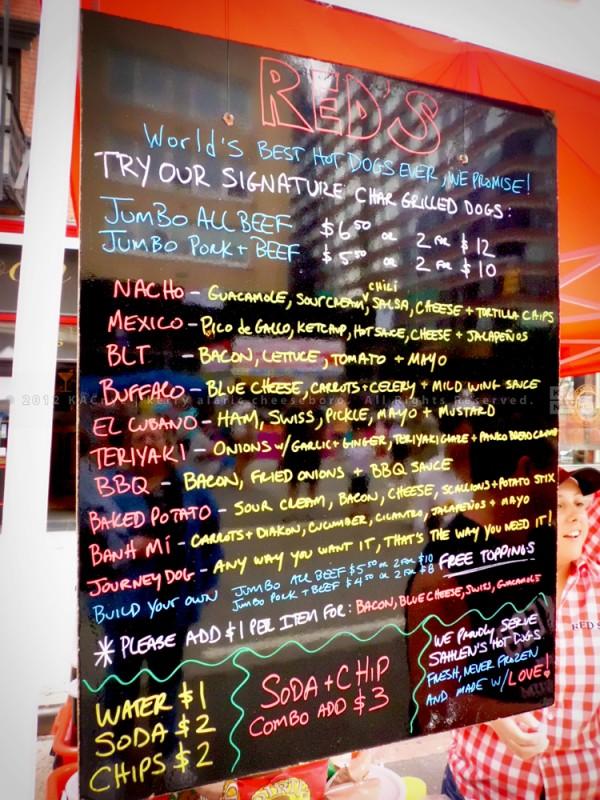 Red's Hot Dogs Menu Board