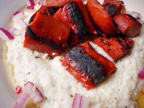 Smoked Chicken Sausage and Blue Cheese Grits