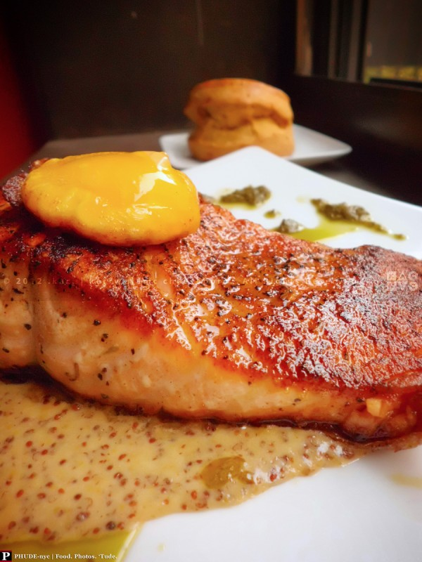 Roasted Salmon with Gin Mustard Butter Sauce