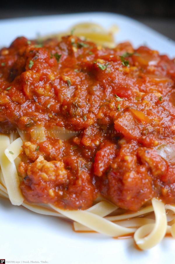 Sausage Marinara over Linguini