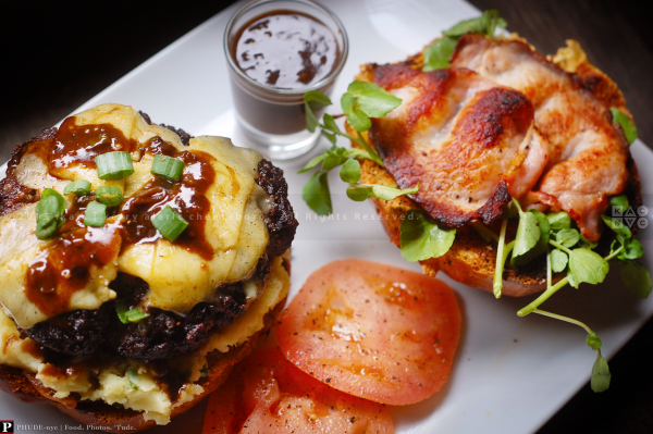 """Erin Go"" Burger with Irish Cheddar and Irish Bacon"