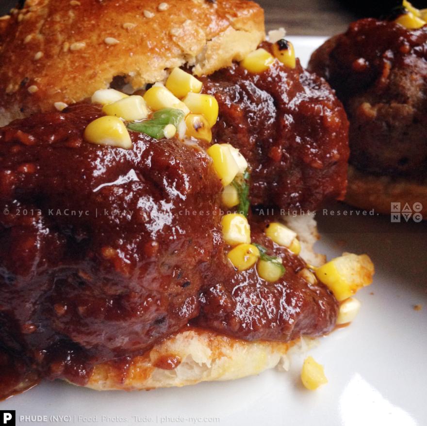 Spicy Bourbon BBQ Pork & Bacon Meatball Sandwich