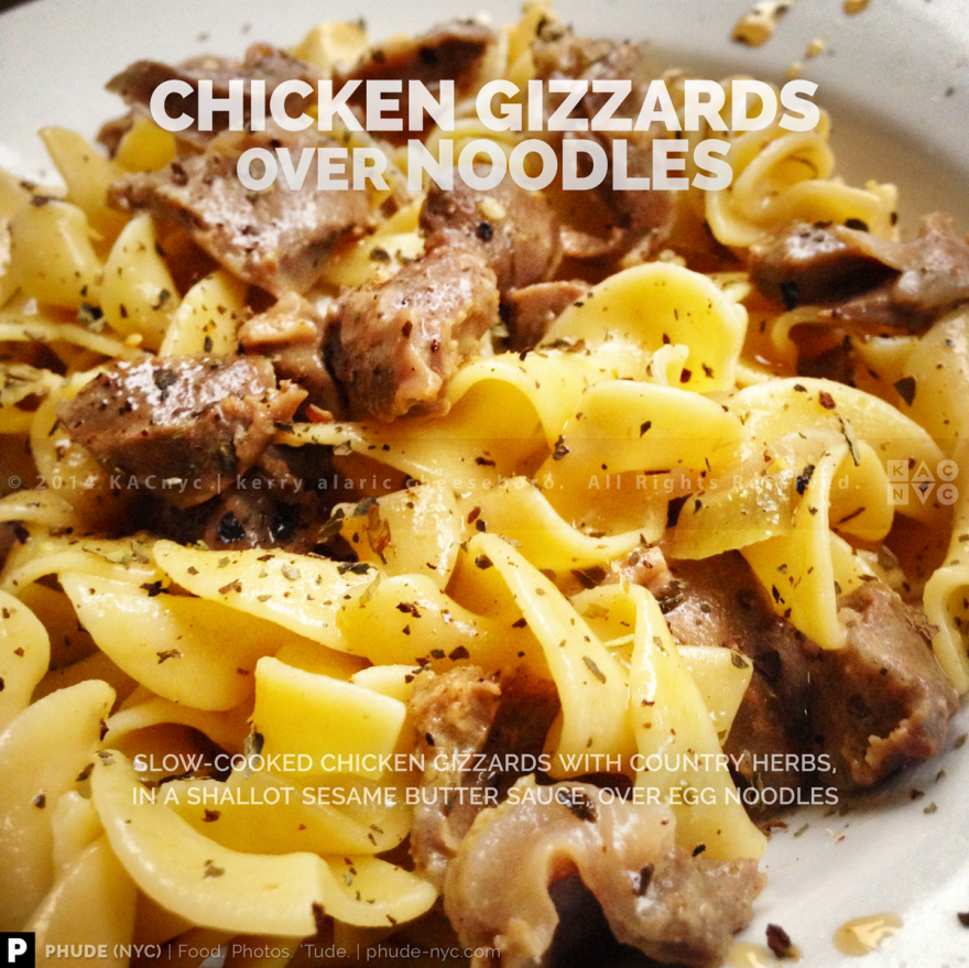 Chicken Gizzards over Noodles