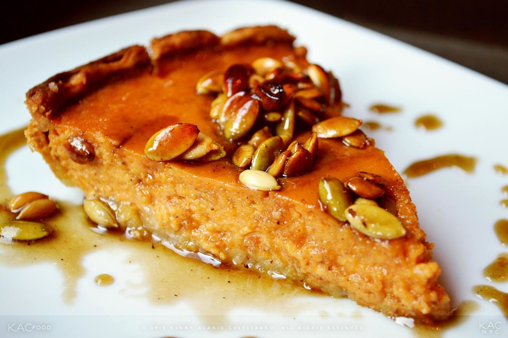 KAC DOUBLE PUMPKIN PIE | Double Pumpkin Pie in Brown Butter-Burnished Crust with Toasted Pumpkin Seeds and Ginger Caramel Drizzle