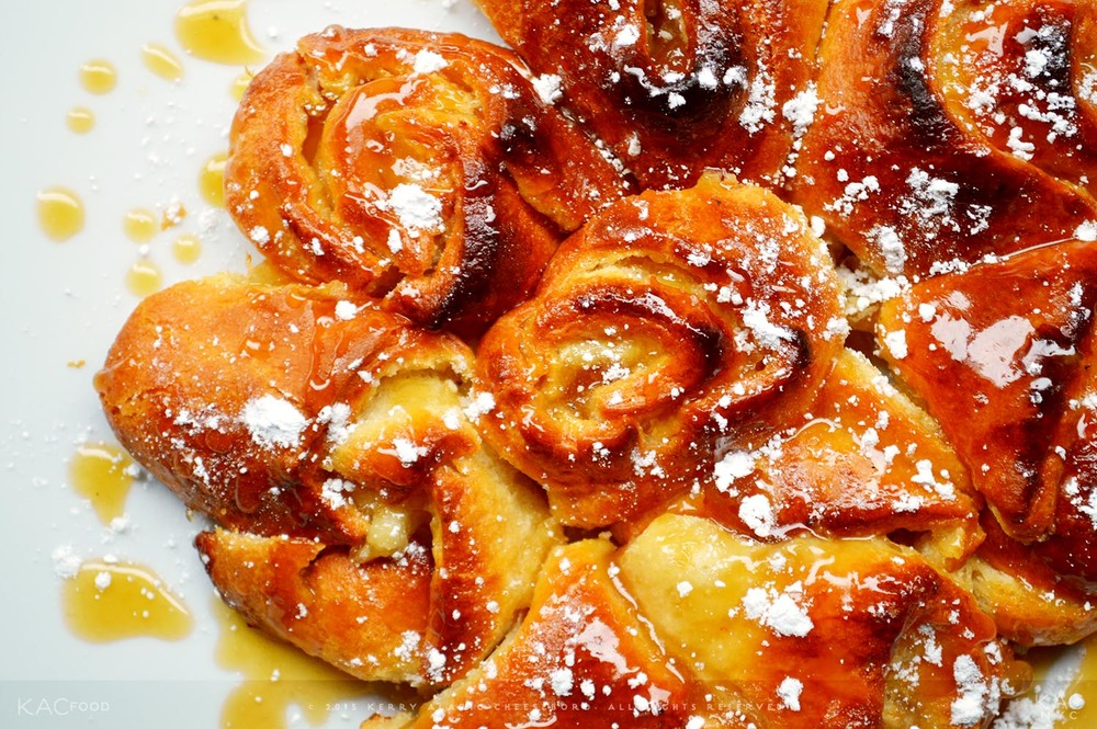 KAC HOT MICKELBERG BUNS | Hot Rolled Puff Pastry Peach & Almond Rolls with Lemon Butter Brown Sugar Glaze