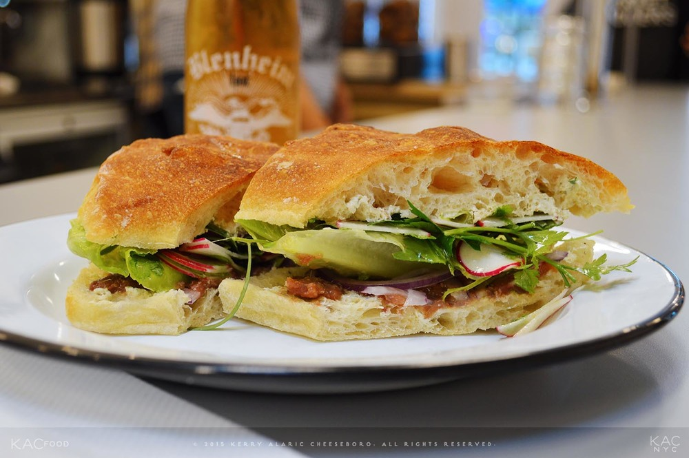 ANCHOVY SANDWICH | Agostino Recca Anchovies, Caper Butter, Radish, Lettuce, Herbs, Lemon Juice, EVOO