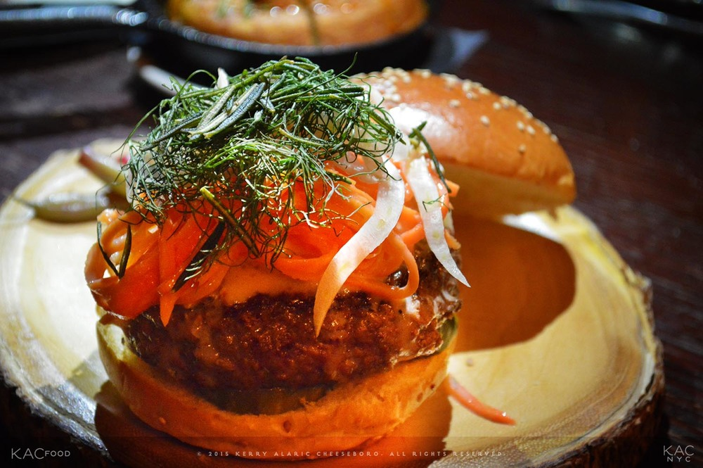 MUTTON BURGER | Triple Crème Buttermilk-Fermented Carrots, Fennel Fronds, Curried Pickles | SEAMSTRESS | Upper East Side, NYC